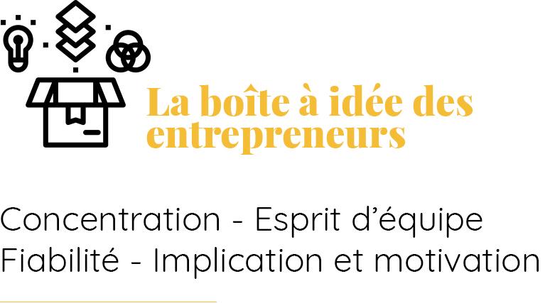 La boîte à idée des entrepreneurs et décideurs Concentration, esprit d'équipe, fiabilité, implication et motivation
