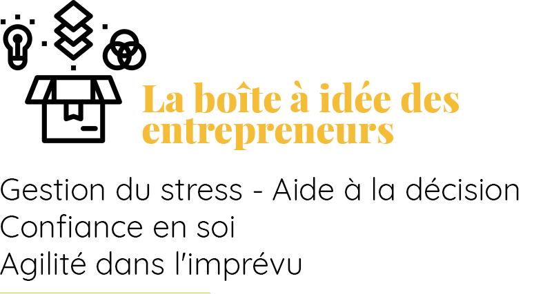 La boîte à idée des entrepreneurs et décideurs Gestion du stress, aide à la décision, confiance en soi, agilité dans l'imprévu
